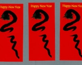 Chinese Zodiac, Year of the Snake, Postcard, birthday greeting card, zen japanese illustration, free shipping