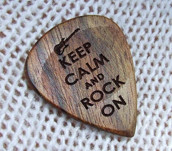 Keep Calm and Rock On - Handmade Laser Engraved Exotic Wood Guitar Pick - Caribbean Rosewood