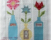 Flowers in Vintage Bottles, a Paper Piecing Pattern