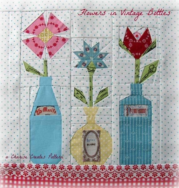 Flowers in Vintage Bottles, a Paper Piecing Pattern