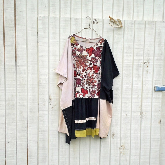 oversized romantic upcycled dress / Funky Eco Floral Dress  / Wrap / Jacket / Poncho / Shirt by CreoleSha