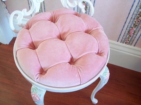 ... Pink Velvet Seat Cushion. ? & Vintage White Scrolly Boudoir Vanity Chair Stool with Hand islam-shia.org