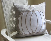 White lumina pumpkin linen pillow cover, Thanksgiving decor