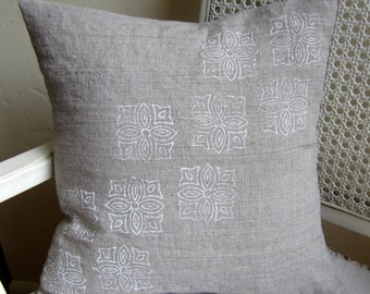 Linen woodblock stamped pillow cover