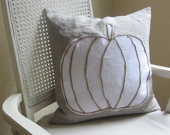 White lumina pumpkin linen pillow cover, Thanksgiving decor
