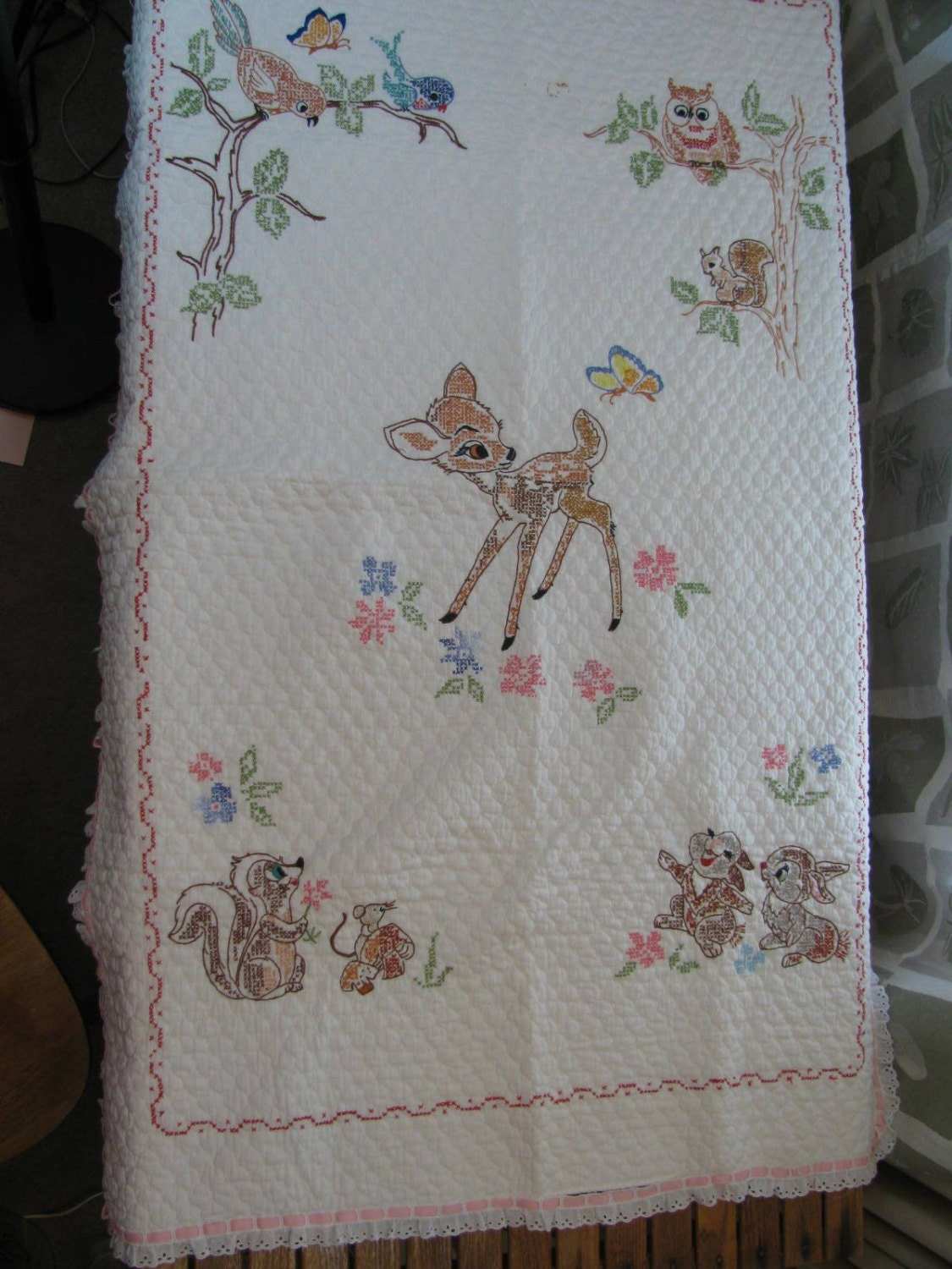 Vintage bambi hand embroidered baby quilt blanket throw
