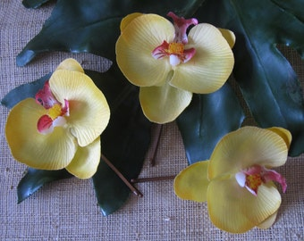 Hawaiian YELLOW Orchids SET OF 3 bobby pins flowers-hair clips - Weddings