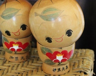Sosaku Creative Kokeshi - Rare Doll Pair - Mother and Child - Japanese  - Artist Signed and Stamped - Fat