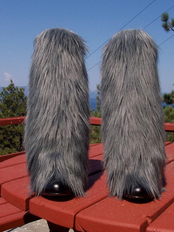 Gray Faux Fur Leg Muffs