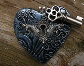The key to my heart pendant in oxidized silver