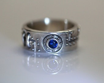 Thick  Industrial ring sterling silver  white diamonds blue sapphire center stone with engraving