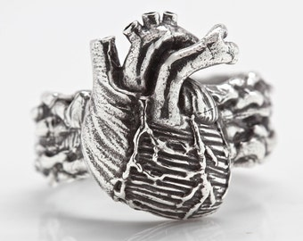 Anatomical Heart Ring (solid sterling silver) the double blood band Made in NYC