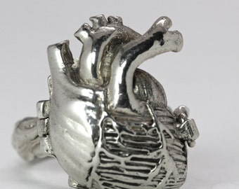 Poison Anatomical Heart Ring Sterling Silver