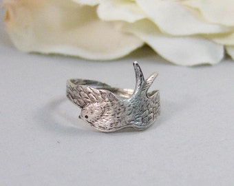 Wrapped Sparrow,Ring,Silver,Twig,Branch, Ring,Antique Ring,Silver Ring,Woodland,Wedding,Bridesmaid. Handmade jewelery by valleygirldesigns.