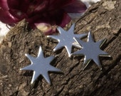 Sterling Silver 10.5mm 24g Star Shiny Metal Blanks Shape Form 925 - 4 pieces