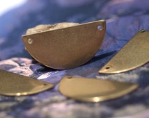 Brass or Bronze Moon 35mm x 18mm 24g Blank Half Rounded Dangle Flat with Holes Cutout Metalworking Stamping Texturing Jewelry Blanks