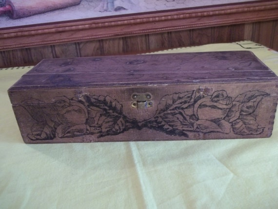 Rustic Wood Jewelry Trinket Box, Primitive, Accented w/Black Roses