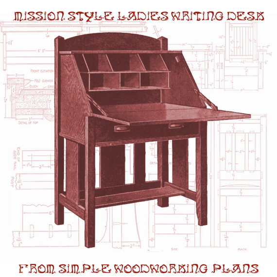 Items similar to woodworking furniture plans mission style for Craftsman style desk plans