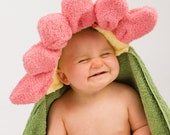 PERSONALIZED Pink Flower Hooded Towel