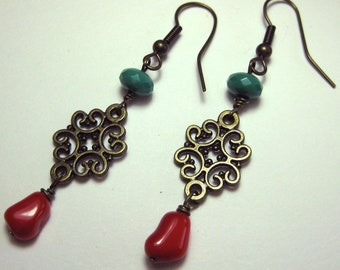 Wuthering Heights - Coral, Czech Glass, and Antique Brass