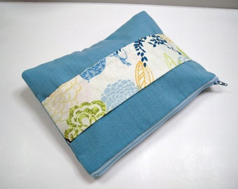 Powder Blue Linen Clutch with Front Handle