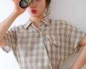 Beige plaid pattern dress, xs-s, vintage, Japan