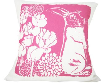 Decorative Pillow, Hot Pink, Bunny Cotton Bark Cloth, 10x10 inch, Silk Screened