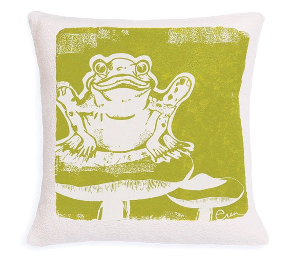 Decorative Pillow, Green, Frog, Silk screened on Cotton bark cloth, 10 inch