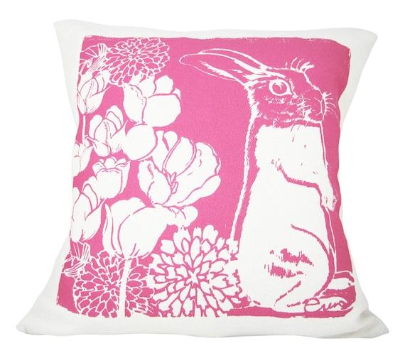 Decorative Pillow, Hot Pink, Bunny Cotton Bark Cloth, 10x10 inch, Silk Screened