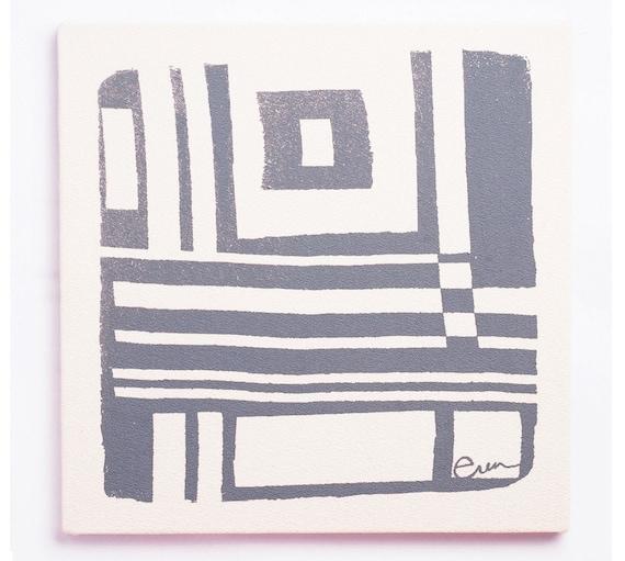 Wall Art, Gray Abstract Geometric Design Framed Cloth print, 19x19, Bark Cloth Silk Screened