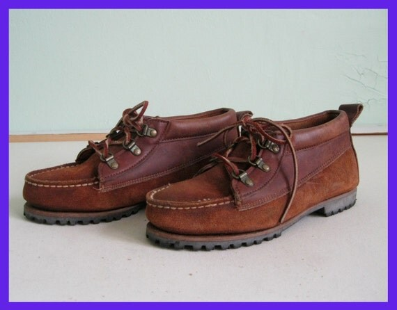 Vintage Leather and Suede Moccasin Ankle Boots by Ralph Lauren Sz. 7.5B / 38