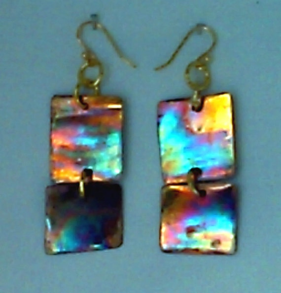 Torch Patina Earrings Copper Squares Jewelry