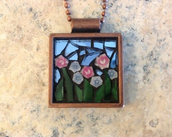 Glass Mosaic Flower Garden Necklace