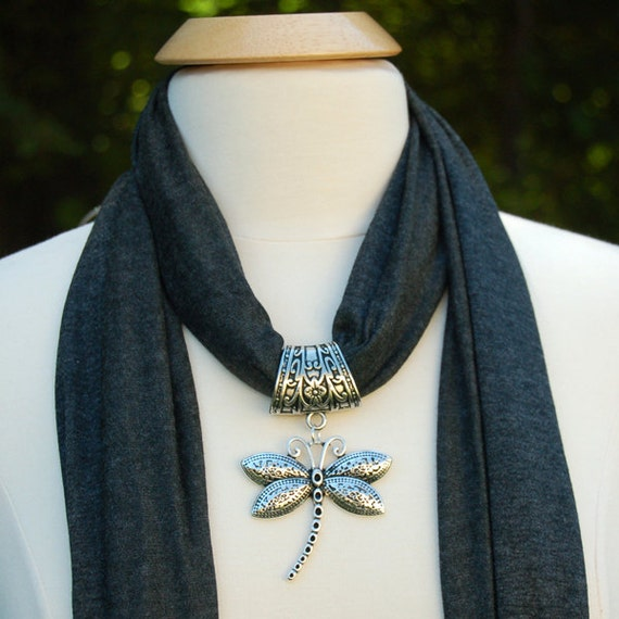 jewelry scarves beautiful charcoal gray scarf with dragonfly