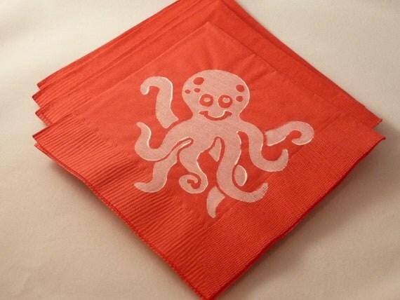 Custom Order for Alyssa - Octopus and Fish Paper Napkins