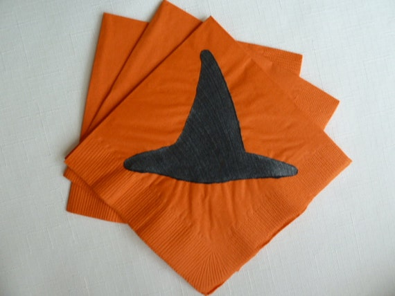 Halloween Witches Hat Cocktail/ Luncheon/ Dinner Napkins - Orange and Black