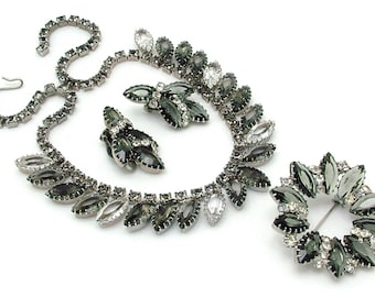 Vintage Rhinestone Necklace Brooch & Earrings Set, Smoke And Clear, 1950s
