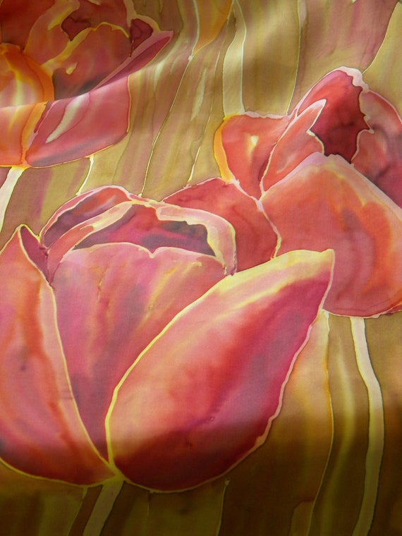 Tulips hand painted silk scarf/ wall hanging. Dark coral cardinal red flowers on beige