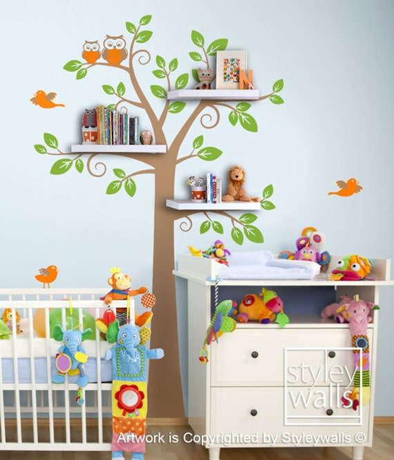 Children Wall Decal Shelves Tree Decal Shelf Tree By