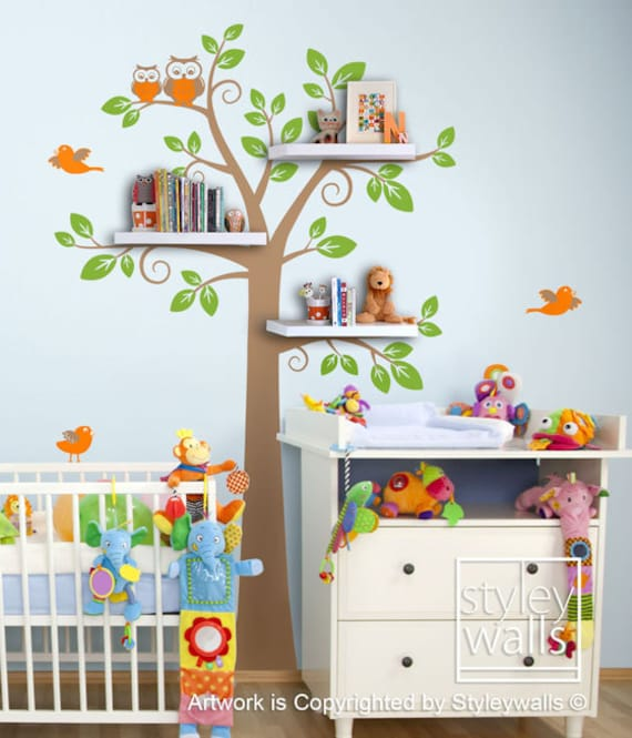 shelves tree decal children wall decal shelf tree by
