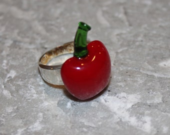 ON SALE ! Lampwork Glass Red Apple Ring Size 6
