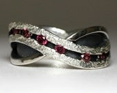Garnet eternity ring - A River of Rhodolite - Wedding or anniversary ring in solid sterling silver