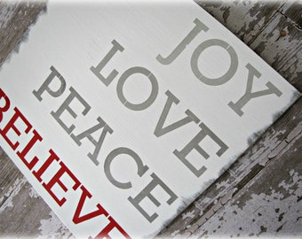 Typography Wood Sign- Christmas- Joy Love Peace Believe- Antiqued Inspiration Sign- Winter Holiday