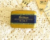 Pelikan Tin Tiny  Blue and Gold Color Alternative Engagement Ring Box Something Old on Etsy