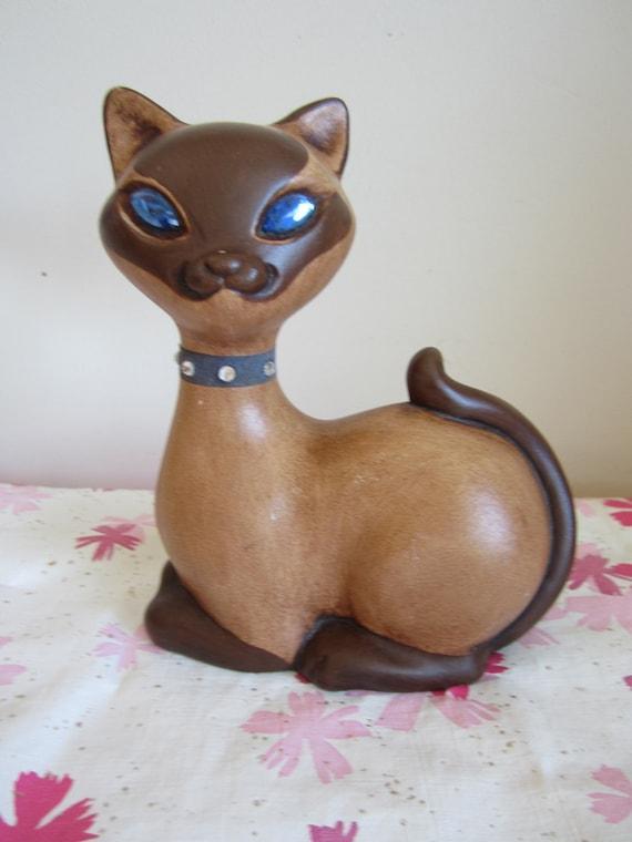 Vintage Roselane Ceramic Cat with Blue Rhinestone Glass Eyes Sparkler