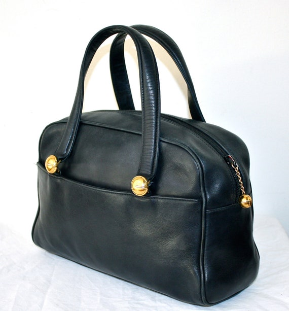 VINTAGE GUCCI Speedy Authentic Navy Leather Doctors Tote