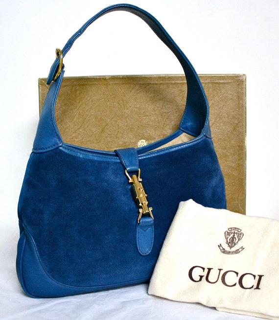 VINTAGE GUCCI HOBO Royal Blue Suede Leather Piston Tote -Deadstock-