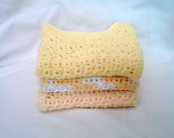 Crocheted washcloths set of 3 shades of yellow