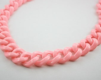 30 inch. Pink Chunky Chain Plastic Link Necklace Craft DIY Decorations Findings (Round) CR8