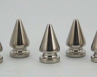 10 sets. Silver Tone Cone Spikes Screwback Rivets Studs Leathercraft Decorations Findings. SCN182